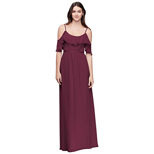 David's Bridal Cold-Shoulder Crinkle Chiffon Bridesmaid Dress Style F19508, Wine, 16 by David's Bridal