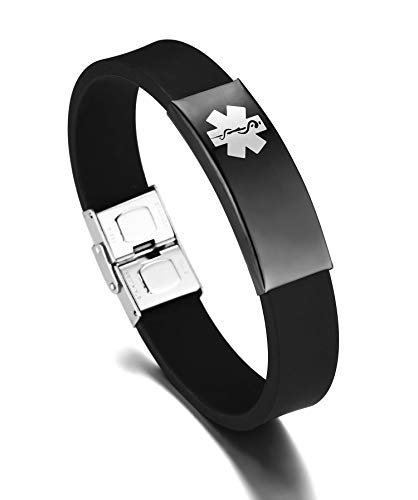 JF.JEWELRY Medical ID Alert Bracelet for Men Silicone Band & Stainless Steel Tag Adjustable-Black