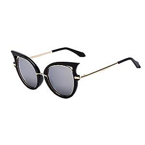 QingFan Women Men Summer Vintage Retro Cat Eye Glasses Unisex Fashion Sunglasses Kids Metal Frame (B, 65)