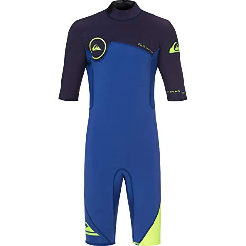 (Quiksilver Syncro Series 2/2mm Springsuit Youth Boys Shorty Wetsuits - Nite Blue/Blue Ribbo / 14)
