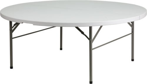 Flash Furniture 72 inch Round Bi-Fold Granite White Plastic Folding Table By Allgoodsdelight365