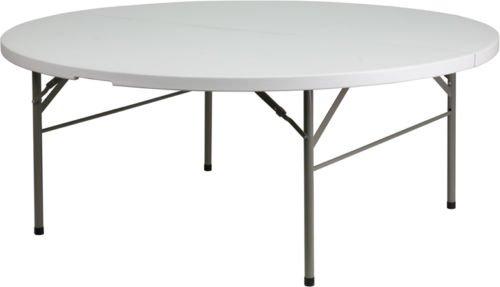 Flash Furniture 72 inch Round Bi-Fold Granite White Plastic Folding Table By Allgoodsdelight365