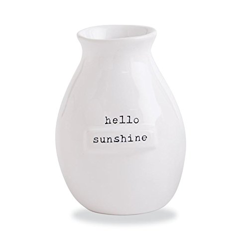 Mud Pie Gifts Ceramic Tag Bud Vase w Hello Sunshine, One Size, White