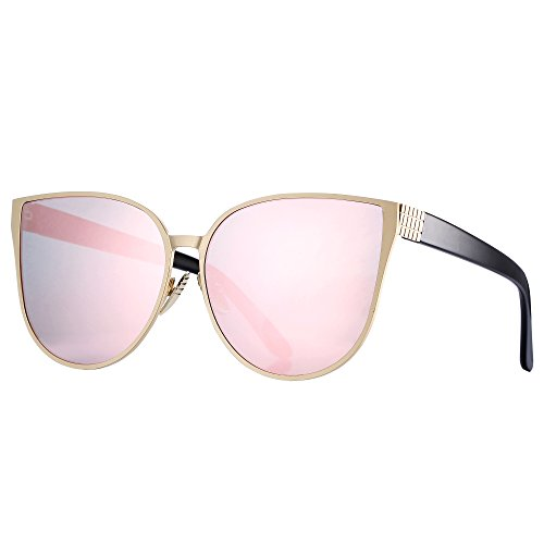 Pro Acme New Women Oversized Metal Frame Mirrored Flat Lens Cat Eye Sunglasses (Pink Mirrored - Cat Frames Eye Pink Glasses