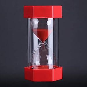 Cristal de Arena de Vidrio Reloj de Arena 3/10/20/30/60 Minutos Temporizador Reloj Decoración de la Oficina en Casa Regalo(30 Minutos Rojo) 2