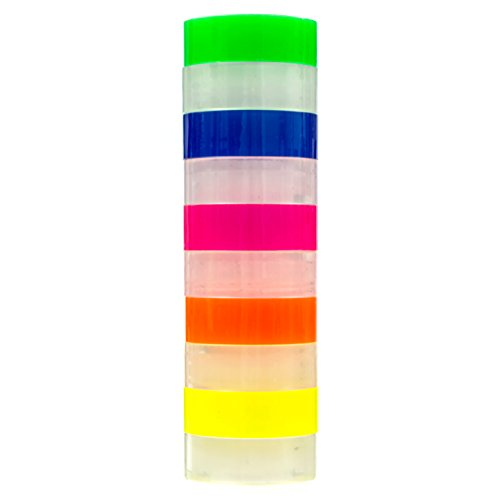 Transparent tape 10 Rolls | Bundle Pack 5 Clear + 5 colors Yellow Orange, Pink, Blue, Green | 3/4inch by 1,150 inches each | Safe & Great for arts and crafts Students , office, mail ,Construction Photo #2