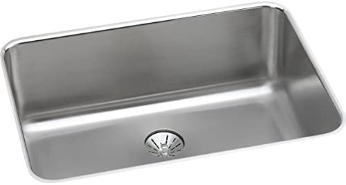 Elkay ELUH241610PD Lustertone Classic Single Bowl Undermount Stainless Steel Sink with Perfect Drain