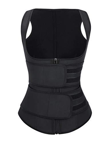 FeelinGirl Women's Latex Underbust Training Cincher Workout Waist Trainer Corset Zipper Vest with Adjustable Belt