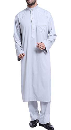 Ptyhk RG Men Casual Arabic Abaya Muslim Middle East Outfit Arabian Robe Grey M]()