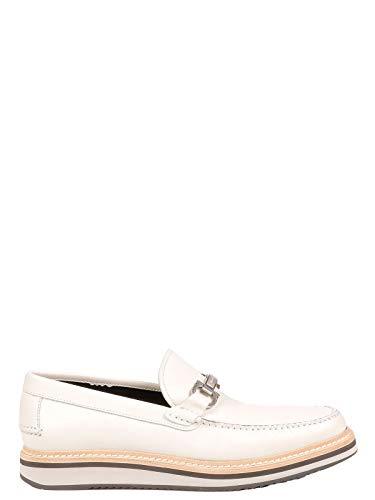 (SALVATORE FERRAGAMO Men's 660306 White Leather Loafers)