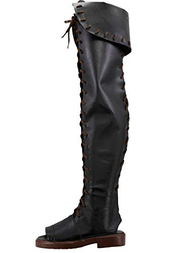 GOTEDDY Magician Cosplay Boots Adult Thigh High Boots Black Leather Open-toe Shoes -