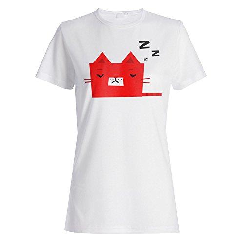 Smiley Katze schlafen Gesicht lustige Neuheit Damen T-shirt a534f