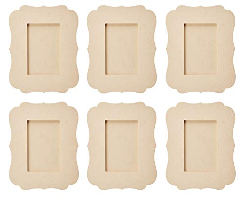 Unfinished Wood Frame - 6-Pack Wooden Picture Frame, Victorian Picture Frame, for Desk Table Top, Home, Office, All Occasions Decoration, DIY Craft Projects, Holds 4 x 6 Photo, 7.5 x 9 x 6.4 Inches