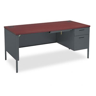 - HON HP3265R.N.S Metro Classic Charcoal Finish Laminate Right Pedestal Desk with 1 Box/1 File Drawer, 66