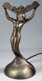- Nude Lady Fan Lamp Base Bronze Finish Art Deco Nouveau