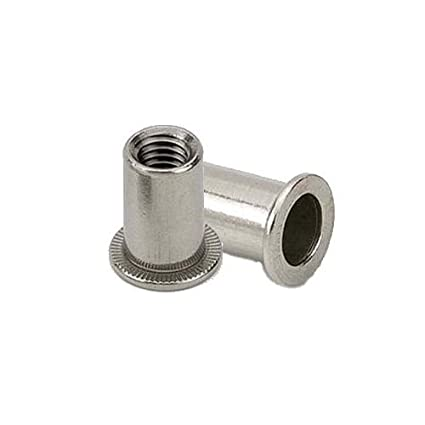 M5 Cylindrical Steel Large Head Rivnuts - Rivet Nuts - Nutserts - Blind Nuts - Pack of 10 About Town Bolts Ltd
