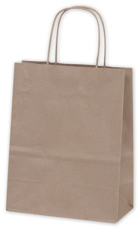 Solid Color Pattern Shopping Bags - Recycled Kraft Paper Shoppers Cub, 8 1/4 x 4 1/4 x 10 3/4