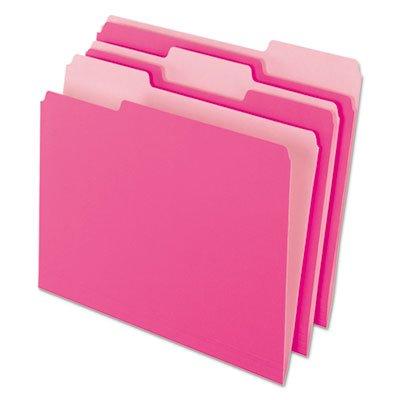 Interior File Folders, 1/3 Cut Top Tab, Letter, Pink, 100/Box