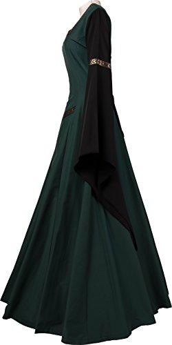 Damen Dornbluth Mittelalterkleid Hermia Dunkelgrün schwarz Swq1q0ZT