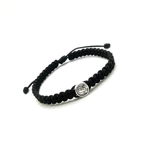 St. Padre Pio Blessing Bracelet / Black Cord, Handwoven in Medjugorje, Handmade Bracelet, Catholic bracelet, Catholic Gift, Medjugorje Bracelet, First communion, Cord bracelet, Handmade Bracelet