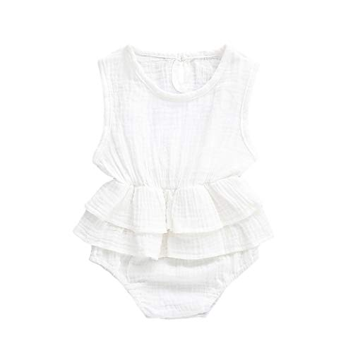 - Youliwj Newborn Infant Baby Girl Sleeveless Cute Solid Romper Bodysuit Clothes Outfits White