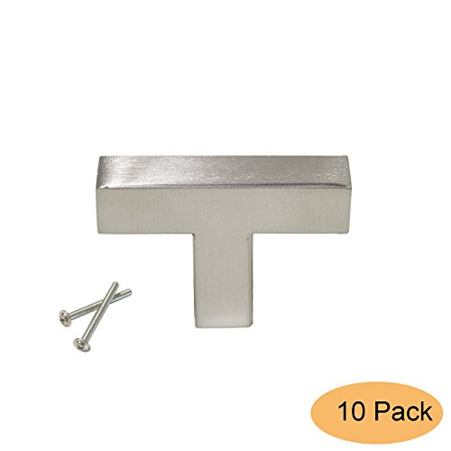 "Gobrico Square Corner Satin Nickel Cabinet Pulls Knobs for Drawer Kitchen Door Single Hole/2""-long/12mm Wide/10Pack"