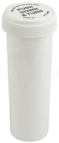 White Push and Turn Reverse Cap Child Resistant Prescription Bottle by MT Products - (15 Pieces) (60 Dram)