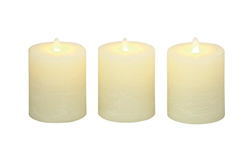 Deco 79 54879 Flameless Candle with Remote Set of 3