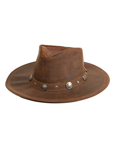 Minnetonka Unisex Buffalo Nickel Hat, Brown Ruff Leather, Large