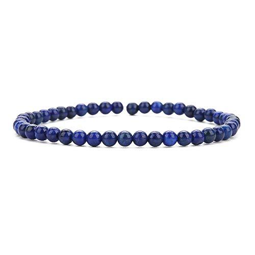 BALIBALI 4MM Mini Gemstone Energy Bracelets Tiny Lapis Lazuli Bracelet Natural Stone Statement Bracelet Charm Beaded Couples Bracelets
