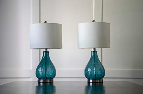 Decor Therapy MP1054 Table Lamp, Emerald Blue Green - Glass and metal table lamp Linen hardback lamp shade Lamp shade Dimension 12 x 12 x 9 - lamps, bedroom-decor, bedroom - 31WpClRg41L -