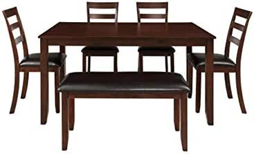 CQIANG 6-Piece Dining Table with 4 Chairs and A Stool (Brown) Outdoor Dining Table Perfect for Patio (Color : Brown)