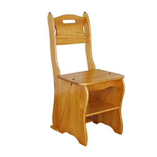 JTDBO Folding Step Stool, Wooden Seat Slip Non-Slip Multi-Function Library Bedroom Living Room Easy to Store 34 X 49 X 85cm