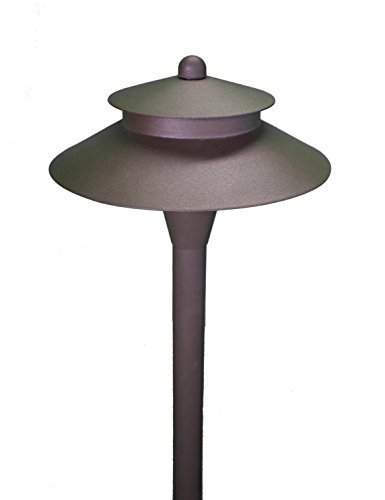 LED Pathway Light Integrated LED - Bronzed Aluminum -Low Voltage LED Light Outdoor Landscape Pagoda Mushroom Security Garden Light for Beautiful Bright Long Lasting Home Patio Deck Pool -