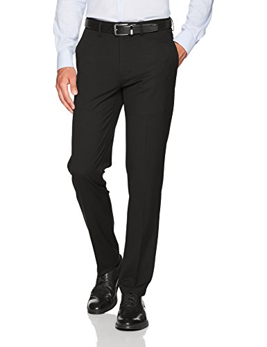 Haggar Men's J.M. Stretch Superflex Waist Slim Fit Flat Front Dress Pant, Black, 34Wx32L ()