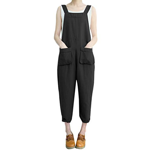 Sunhusing Women Solid Color Sleeveless Casual Pocket Dungarees Pants Loose Cotton Linen Playsuit Trousers -