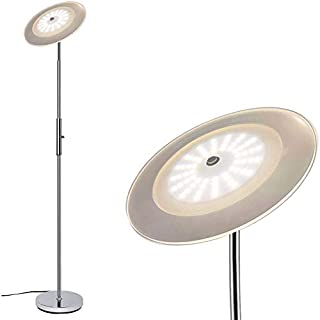 "Torchiere Floor Lamp - 18W LED Floor Lamps, Metal Material, Energy-Saving, Long Lifespan >50,000hrs, 3000K Dimmable Natural Daylight, Rotatable Head, 70.5"" Floor Lamps for Living Room, Bedroom, Silver"