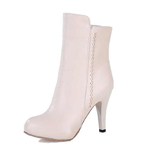 Allhqfashion Women's Soft Material Zipper Round Closed Toe High-Heels Low-Top Boots Apricot gkqHldrN