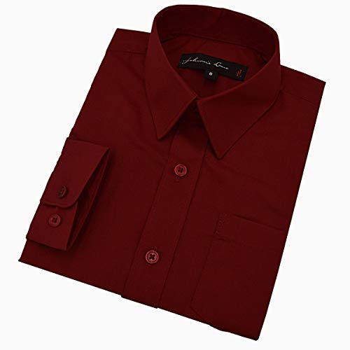 Johnnie Lene Boy's Long Sleeves Solid Dress Shirt #JL32 (14, Burgundy Wine)