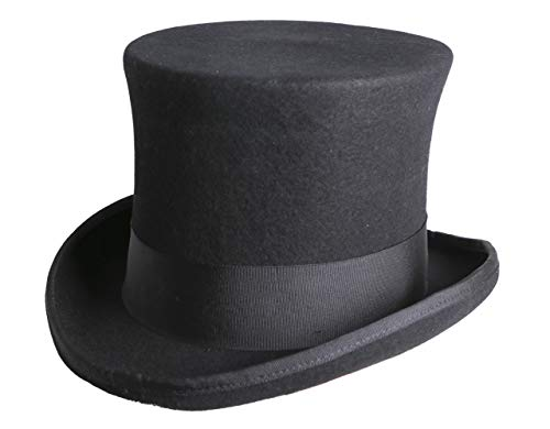 Arsimus 100% Wool Steampunk Top Hat with Grosgrain Band and Feathers, Black, Medium ()