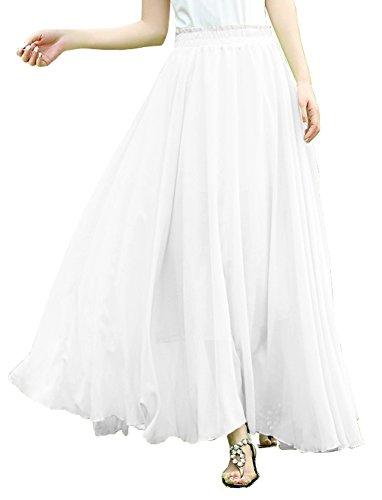 V28Women Full/ankle Length Elastic Pleated Retro Maxi Chiffon Long Skirt (M, White)