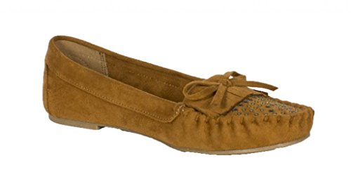 Lustacious Mujer's Round Toe Mocasín Penny Loafer Frente Con Tachuelas Slip On Flats British Tan Faux Suede