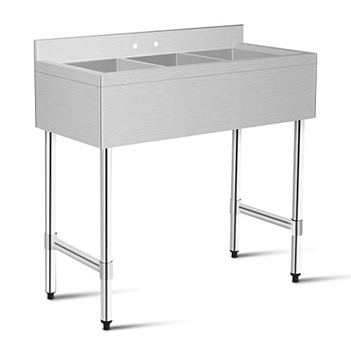 Compartment Bar Sink - Giantex 3 Compartment Sink Kitchen Prep & Utility Sink Heavy Duty Stainless Steel Commercial