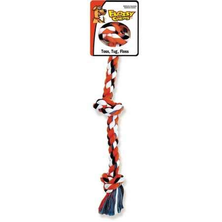 Flossy Chews Cottonblend Color 3-Knot Rope Tug, X-Large, 36-Inch