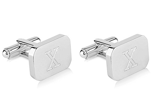 Lux 18K White-Gold Plated Monogram Initial Engraved Stainless Steel Man's Cufflinks With Gift Box -Personalized Alphabet Letter's By Pier (X- White Gold)
