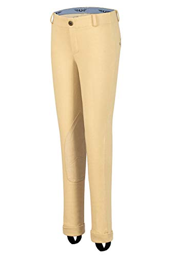 TuffRider Kid's Cotton Embroidered Pull-On Jods, Light Tan, 14