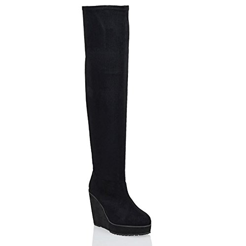 ESSEX GLAM Womens Black Faux Suede Stretch Over The Knee Thigh High Platform Wedge Heel Boots 6 B(M) (Suede Leather Wedge Boots)