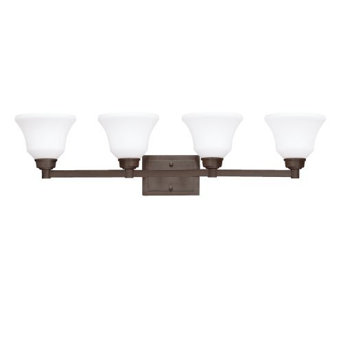 Kichler Lighting 5391OZ Langford 4-Light Vanity Fixture, Olde Bronze Finish with Etched Opal Glass by Kichler