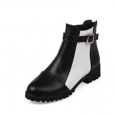 RTRY Zapatos De Mujer De Piel Sintética Invierno Primavera Moda Botas Botas Bota Chunky Talón Puntera Redonda Botines/Botines Hebilla Para Boda Oficina &Amp; US8.5 / EU39 / UK6.5 / CN40