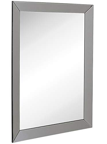 Hamilton Hills Large Framed Wall Mirror with Smoke Gray 3 Inch Angled Beveled Mirror Frame | Vanity, Bedroom, or Bathroom | Mirrored Rectangle Hangs Horizontal or Vertical (30